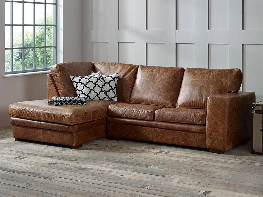 Abbey Leather Corner Chaise Sofa