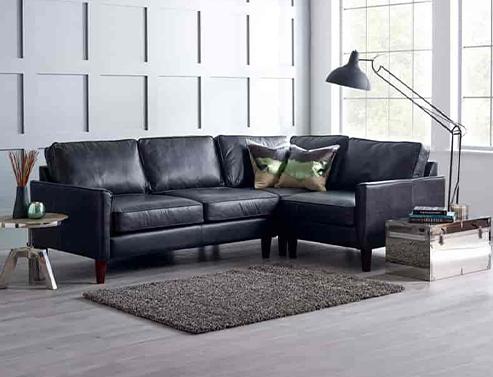 Columbus Black Leather Corner Sofa