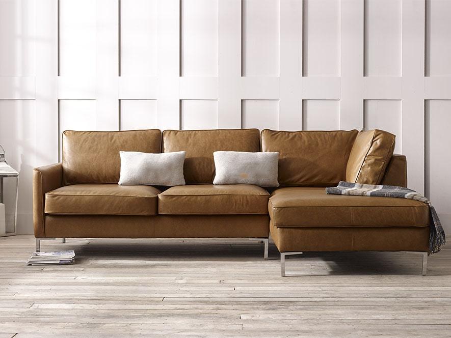 Columbus Leather Corner Chaise Sofa