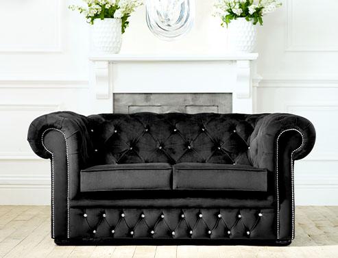 Diamante Velvet Chesterfield Sofa