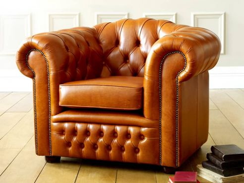 Ashford Leather Buttoned Sofa Chair