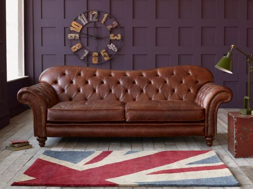 Crompton Large Chesterfield Sofa 2 Seater-Bracken Mouse