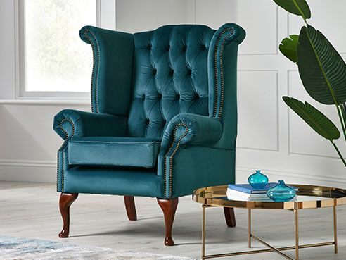 Fabric Scroll Wing Chair
