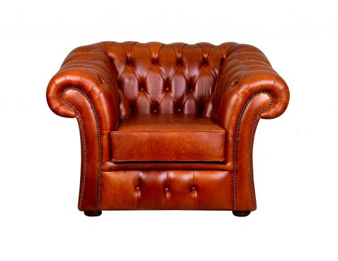 Pemberton Brown Leather Chesterfield Chair