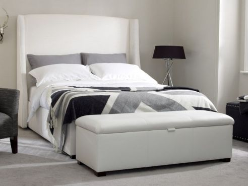 Rowe Double Bed-Black Faux Leather